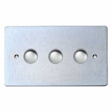 Victorian Dimmer Switch 3 Gang Satin Chrome