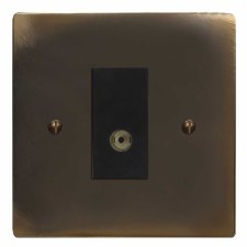 Victorian TV Socket Outlet Dark Antique Relief