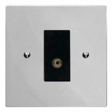 Victorian TV Socket Outlet Polished Chrome & Black Trim