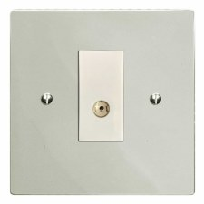 Victorian TV Socket Outlet Polished Nickel