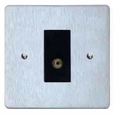 Victorian TV Socket Outlet Satin Chrome & Black Trim