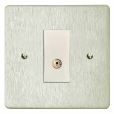 Victorian TV Socket Outlet Satin Nickel