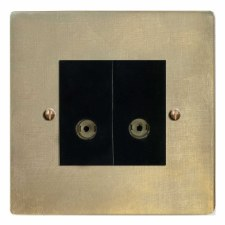 Victorian TV Socket Outlet 2 Gang Antique Satin Brass