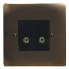 Victorian TV Socket Outlet 2 Gang Dark Antique Relief