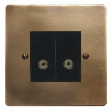 Victorian TV Socket Outlet 2 Gang Hand Aged Brass