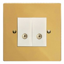 Victorian TV Socket Outlet 2 Gang Polished Brass Lacquered & White Trim