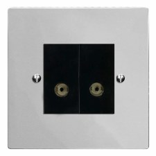 Victorian TV Socket Outlet 2 Gang Polished Chrome & Black Trim