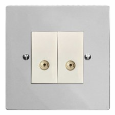 Victorian TV Socket Outlet 2 Gang Polished Chrome & White Trim