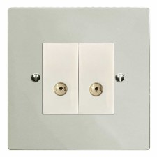 Victorian TV Socket Outlet 2 Gang Polished Nickel