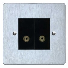Victorian TV Socket Outlet 2 Gang Satin Chrome & Black Trim