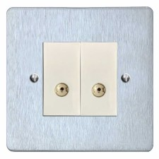 Victorian TV Socket Outlet 2 Gang Satin Chrome & White Trim
