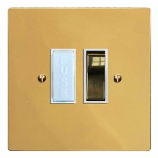 Victorian Switched Fused Spur Polished Brass Lacquered & White Trim