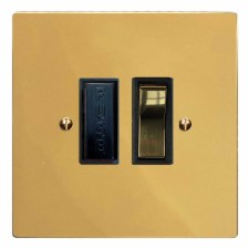 Victorian Switched Fused Spur Polished Brass Lacquered & Black Trim