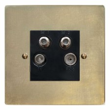 Victorian Quadplex TV Socket Antique Satin Brass