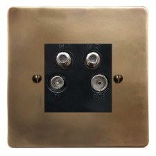 Victorian Quadplex TV Socket Hand Aged Brass