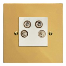 Victorian Quadplex TV Socket Polished Brass Lacquered & White Trim