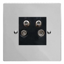 Victorian Quadplex TV Socket Polished Chrome & Black Trim