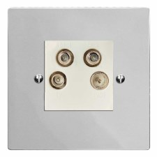 Victorian Quadplex TV Socket Polished Chrome & White Trim