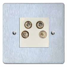 Victorian Quadplex TV Socket Satin Chrome & White Trim