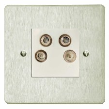 Victorian Quadplex TV Socket Satin Nickel