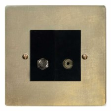 Victorian Satellite & TV Socket Outlet Antique Satin Brass