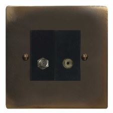 Victorian Satellite & TV Socket Outlet Dark Antique Relief