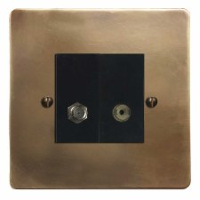 Victorian Satellite & TV Socket Outlet Hand Aged Brass