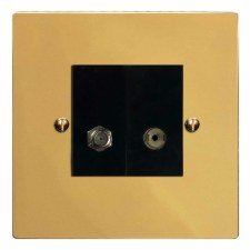 Victorian Satellite & TV Socket Outlet Polished Brass Lacquered & Black Trim