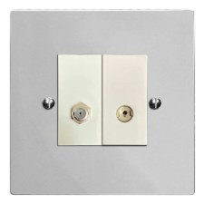 Victorian Satellite & TV Socket Outlet Polished Chrome & White Trim