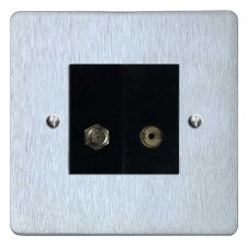 Victorian Satellite & TV Socket Outlet Satin Chrome & Black Trim