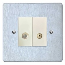 Victorian Satellite & TV Socket Outlet Satin Chrome & White Trim