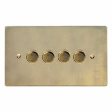 Victorian Dimmer Switch 4 Gang Antique Satin Brass