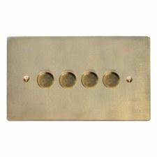Victorian Dimmer Switch 4 Gang Antique Satin Brass