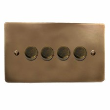 Victorian Dimmer Switch 4 Gang Hand Aged Brass