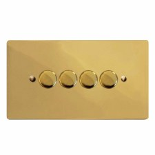 Victorian Dimmer Switch 4 Gang Polished Brass Unlacquered
