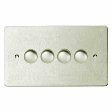 Victorian Dimmer Switch 4 Gang Satin Nickel