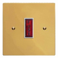 Victorian Fused Spur Connection Unit Illuminated Indicator Polished Brass Lacquered & White Trim