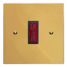 Victorian Fused Spur Connection Unit Illuminated Indicator Polished Brass Lacquered & Black Trim