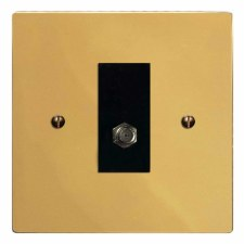Victorian Satellite Socket Polished Brass Lacquered & Black Trim