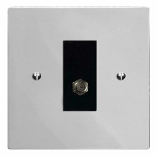 Victorian Satellite Socket Polished Chrome & Black Trim