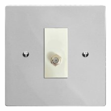 Victorian Satellite Socket Polished Chrome & White Trim