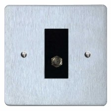 Victorian Satellite Socket Satin Chrome & Black Trim