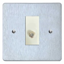 Victorian Satellite Socket Satin Chrome & White Trim