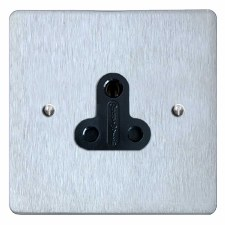 Victorian Lighting Socket Round Pin 5A Satin Chrome & Black Trim