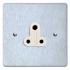 Victorian Lighting Socket Round Pin 5A Satin Chrome & White Trim