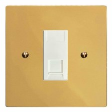 Victorian RJ45 Socket CAT 5 Polished Brass Lacquered & White Trim