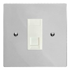 Victorian RJ45 Socket CAT 5 Polished Chrome & White Trim