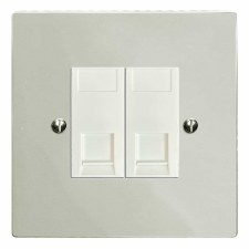 Victorian RJ45 Socket 2 Gang CAT 5 Polished Nickel