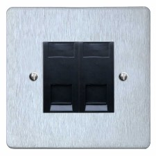 Victorian RJ45 Socket 2 Gang CAT 5 Satin Chrome & Black Trim