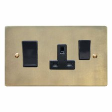 Victorian Socket & Cooker Switch Antique Satin Brass